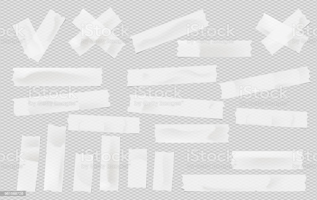 White adhesive, sticky, masking, duct tape, paper strips pieces for text on gray squared background. - Royalty-free Branco arte vetorial