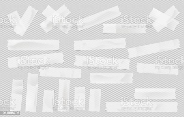 White Adhesive Sticky Masking Duct Tape Paper Strips Pieces For Text On Gray Squared Background - Arte vetorial de stock e mais imagens de Branco