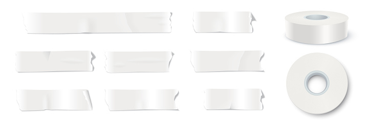 White adhesive tape set. Sticky duct paper strips, cuts, textured and glued, whole rolls vector illustration. Realistic torn and ripped plastic packaging tool on white background