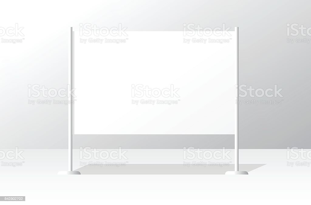 White advertising stand board empty banner template, signboard advertisement billboard vector art illustration