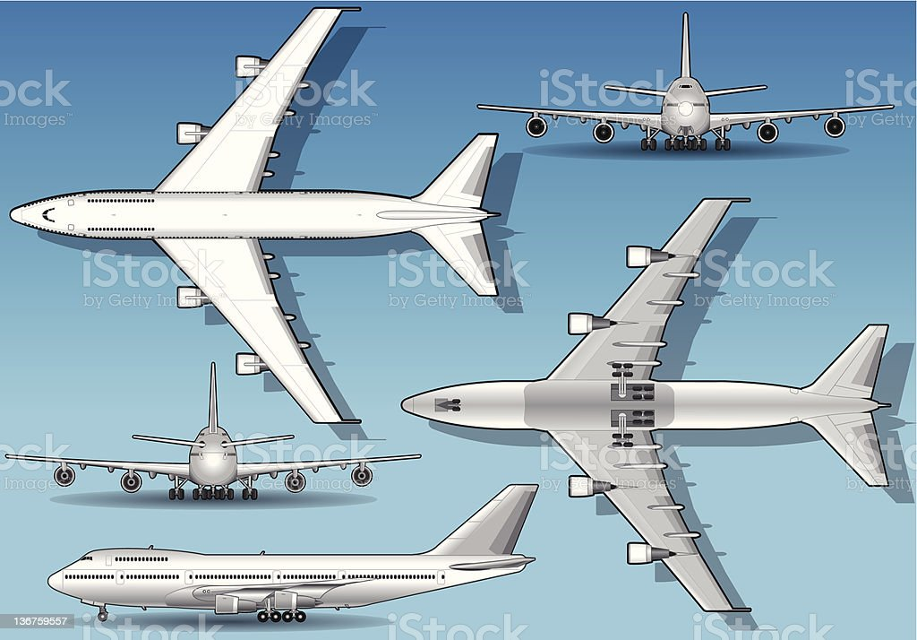 White airplane in five orthogonal position royalty-free stock vector art