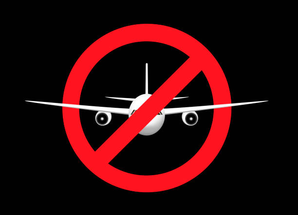 white airplane in the prohibition sign, front view, isolated on the black background, horizontal vector illustration white airplane in the prohibition sign, front view, isolated on the black background, horizontal vector illustration exclusion stock illustrations
