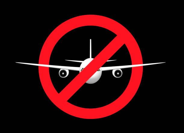 weißes flugzeug im verbotsschild, frontansicht, isoliert auf schwarzem hintergrund, horizontale vektorabbildung - ausstoßen stock-grafiken, -clipart, -cartoons und -symbole