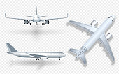 White airplane with shadow icon set on checkered background in profile and from the front isolated vector illustration