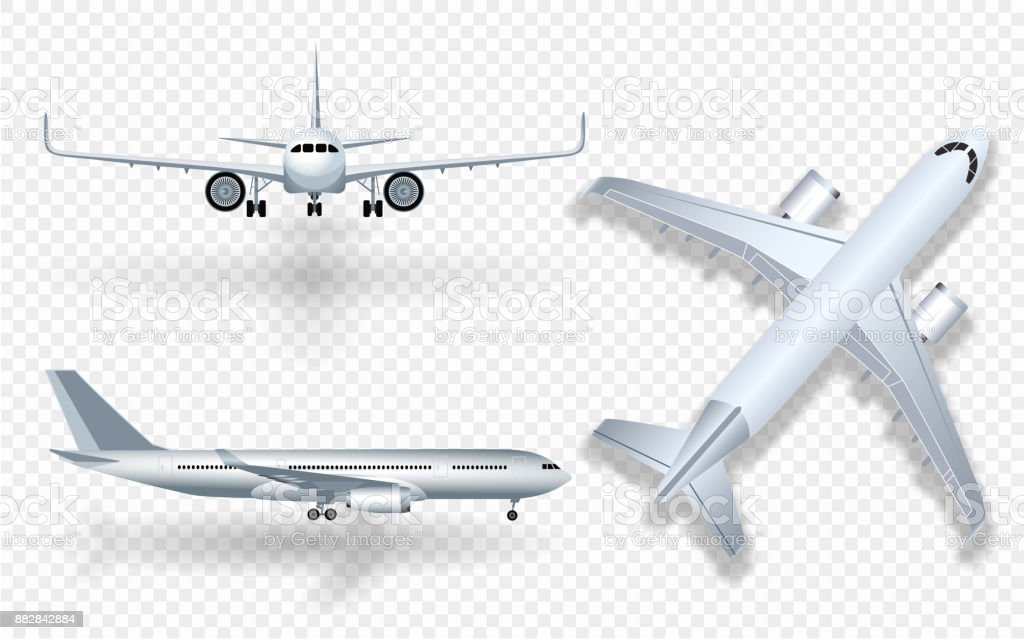 White airplane with shadow icon set on checkered background in profile and from the front isolated vector illustration - illustrazione arte vettoriale