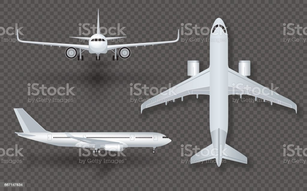 White airplane with shadow icon set on transparent background in profile and from the front isolated vector illustration - illustrazione arte vettoriale