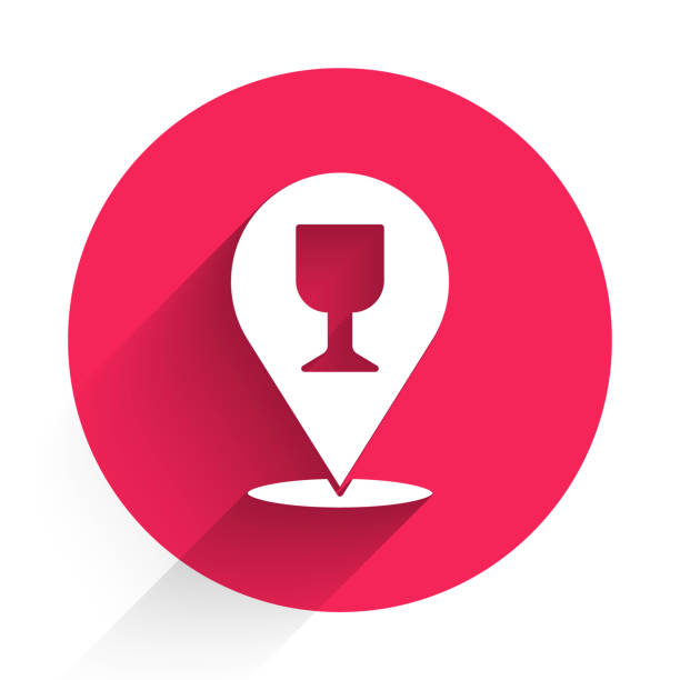 White Alcohol or beer bar location icon isolated with long shadow. Symbol of drinking, pub, club, bar. Red circle button. Vector Illustration White Alcohol or beer bar location icon isolated with long shadow. Symbol of drinking, pub, club, bar. Red circle button. Vector Illustration alcohol drink clipart stock illustrations