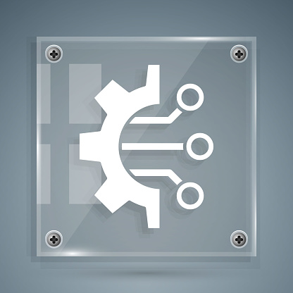 White Algorithm icon isolated on grey background. Algorithm symbol design from Artificial Intelligence collection. Square glass panels. Vector Illustration