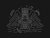 White Alien vector design of ancient Babylon and Sumerian deity on black background