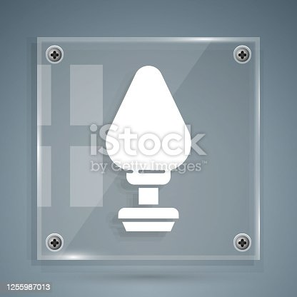 istock White Anal plug icon isolated on grey background. Butt plug sign. Fetish accessory. Sex toy for men and woman. Square glass panels. Vector Illustration 1255987013