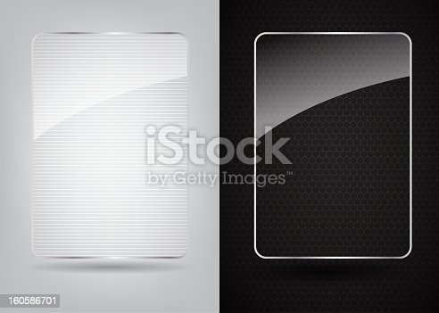 Glass frame on abstract metal background. Vector illustration. EPS10. Contains transparent objects used for shadows drawing, glare and background. Background to give the gloss.