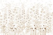 white and beige flowers and grass on a white  background
