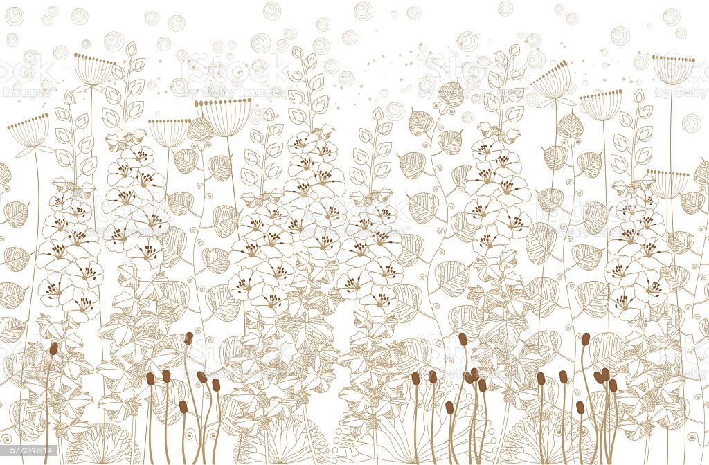 white and beige flowers and grass on a white  background – Vektorgrafik