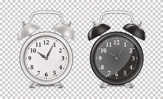 White and black alarm clock icon set. Design template closeup in vector. Mock-up for branding and advertise isolated on transparent background