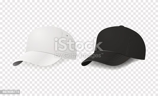 white and black baseball cap icon set design template