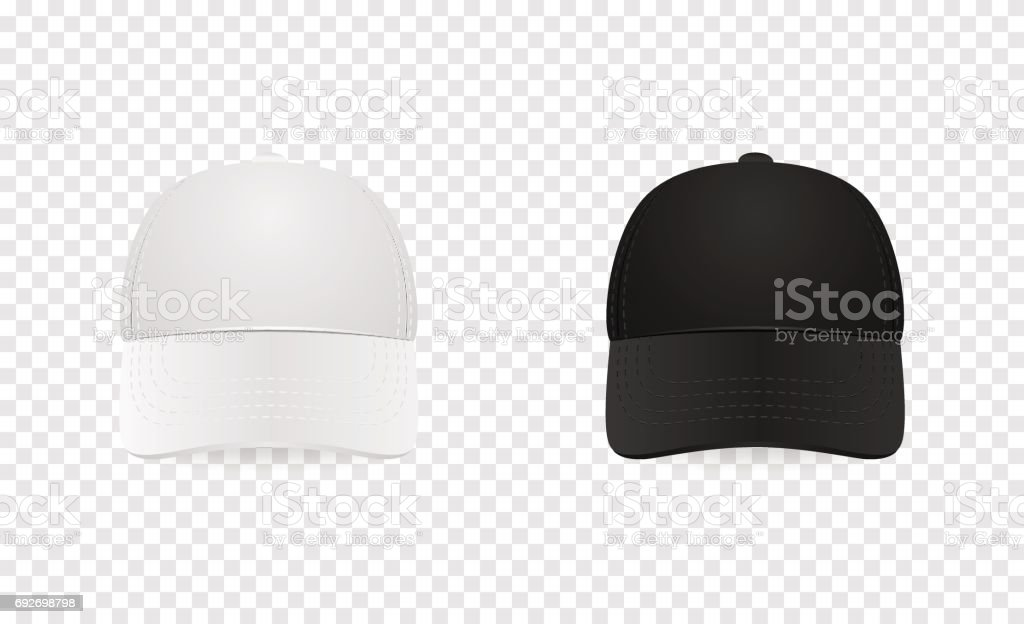 White and black baseball cap icon set. Front view. Design template closeup in vector. Mock-up for branding and advertise isolated on transparent background vector art illustration