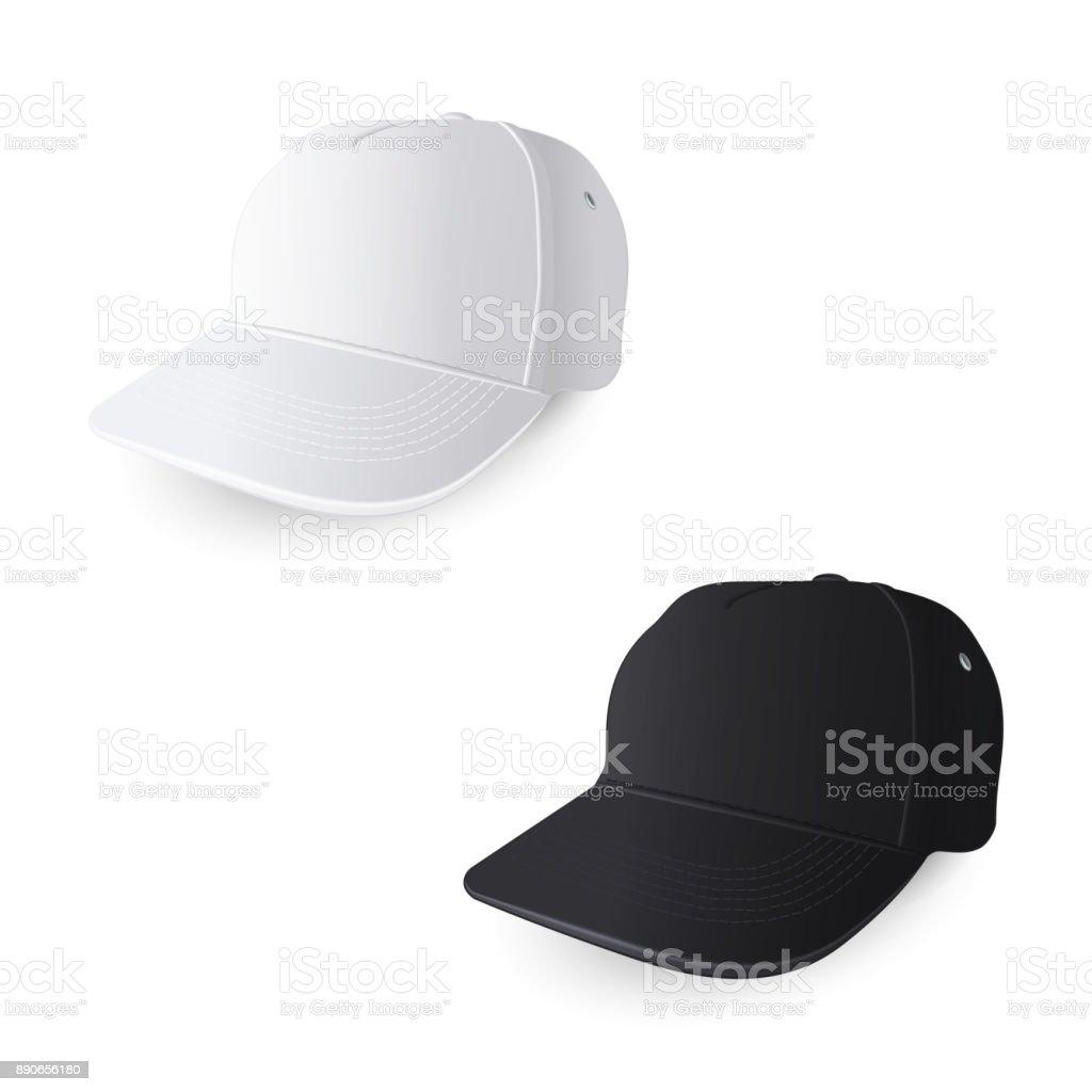 White and Black Baseball Caps vector art illustration