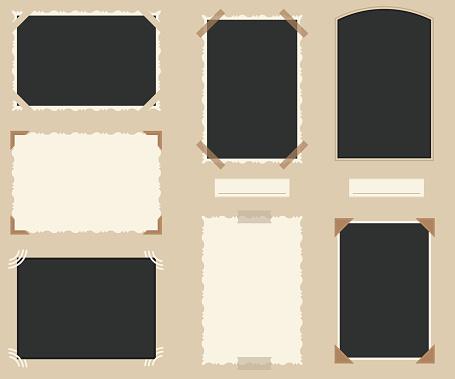 White and Black Blank Retro Photos Set. Vector