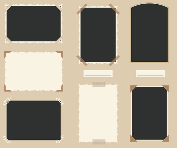 White and Black Blank Retro Photos Set. Vector White and Black Blank Retro Photos Empty Template Mockup Set. Vector illustration of Photo and Frame Old Vintage scrapbook stock illustrations