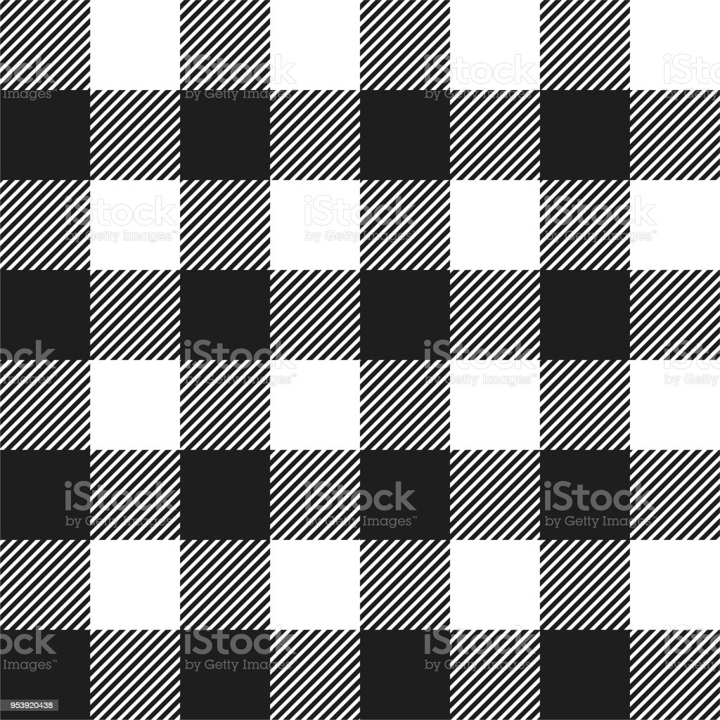 White and Black Buffalo Check Plaid Seamless Pattern vector art illustration