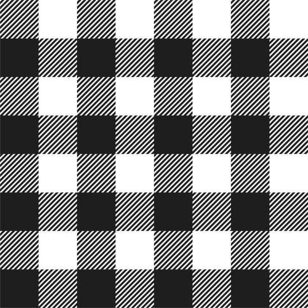 white and black buffalo check plaid seamless pattern - checked pattern stock illustrations