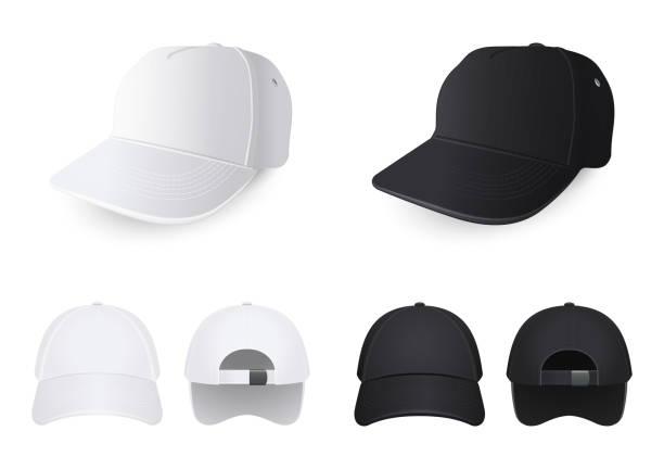 화이트와 블랙 모자 다른 각도에서 - 모자 모자류 stock illustrations
