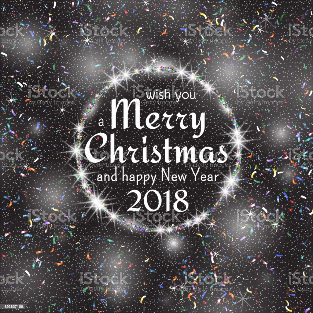 2018 white and black card with merry christmas text and gold glitter frame sparkling