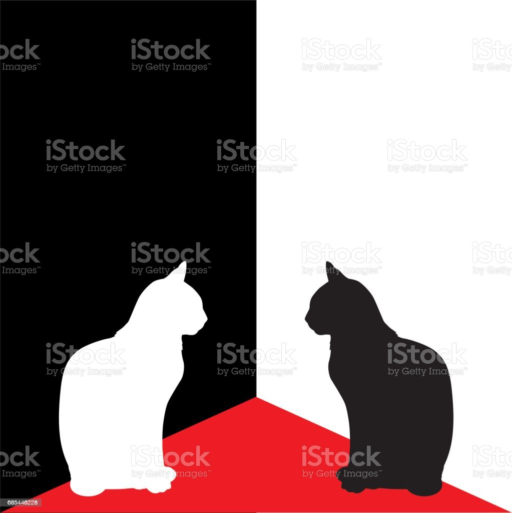 White And Black Cats In Corner vector art illustration