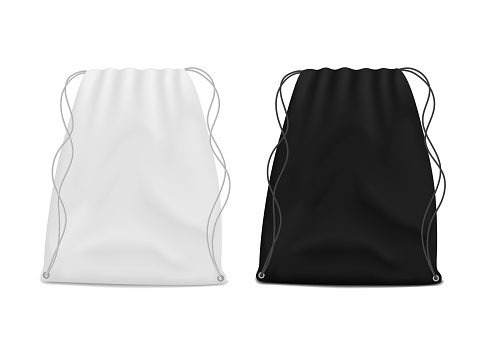 White and black drawstring bags mockup. School backpack for packing clothes. Canvas pouch, knapsack with rope for print. Textile gray pack template. Handbag with string on isolated background. vector.