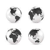 White and black Earth globe