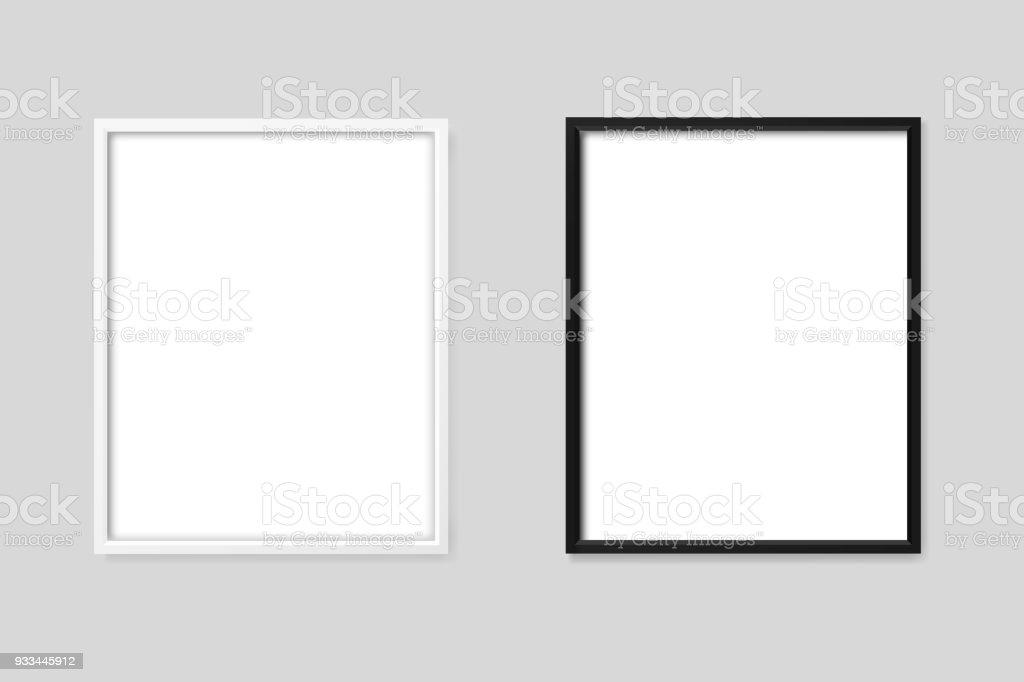 Weiße Und Schwarze Rahmen Mockup Stock Vektor Art und mehr Bilder ...