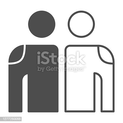 istock White and Black Friendship thin line icon,  concept,  friendship sign on white background, white people and black people hugging icon in outline style. Vector graphics. 1277250055