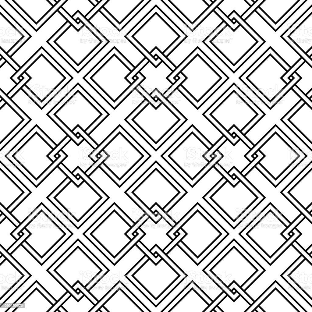 White and black geometric ornament. Seamless pattern - Royalty-free Abstract stock vector