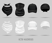 White and black head bandanas and cap, neck scarf and buff.