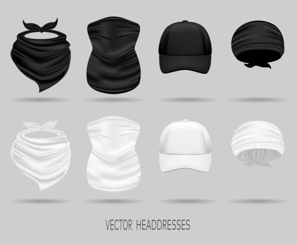 White and black head bandanas and cap, neck scarf and buff. set of white and black head bandanas and cap, neck scarf and buff. realistic vector mock up neck stock illustrations