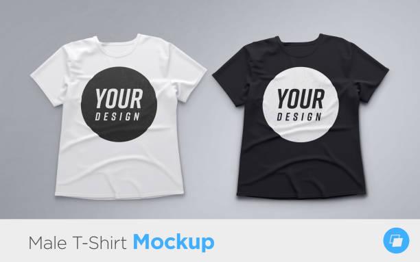 白と黒のメンズ t シャツ現実的モックアップ - tシャツ点のイラスト素材/クリップアート素材/マンガ素材/アイコン素材