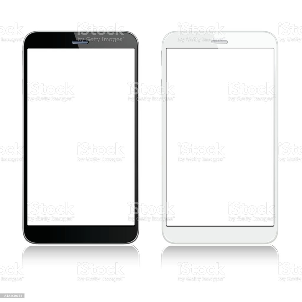White and black mobile phones vector art illustration