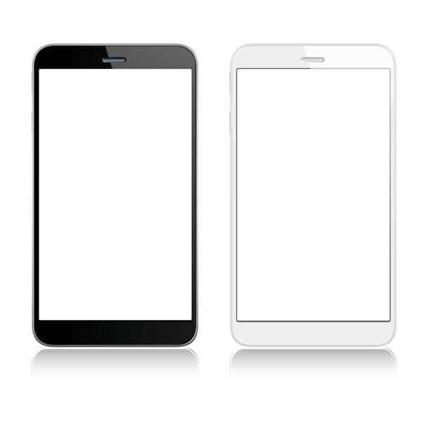 ilustraciones, imágenes clip art, dibujos animados e iconos de stock de blancos y negros de los teléfonos móviles - teléfono inteligente