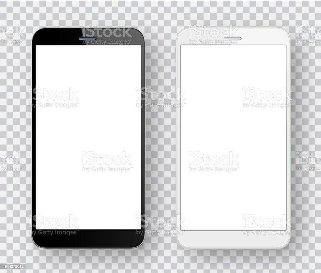 Weiße und schwarze Handys - Lizenzfrei Berühren Vektorgrafik