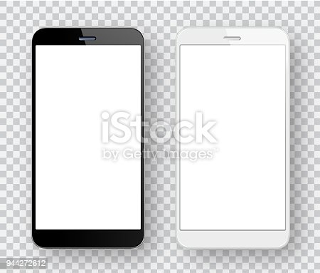 Vector white and black mobile phones