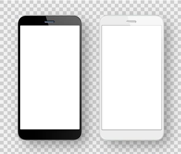 illustrazioni stock, clip art, cartoni animati e icone di tendenza di telefoni cellulari bianchi e neri - smart phone