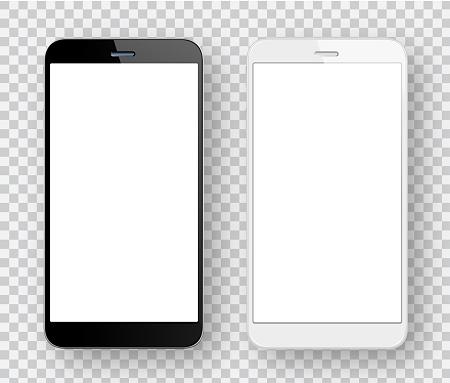 Weiße Und Schwarze Handys Stock Vektor Art und mehr Bilder von Berühren