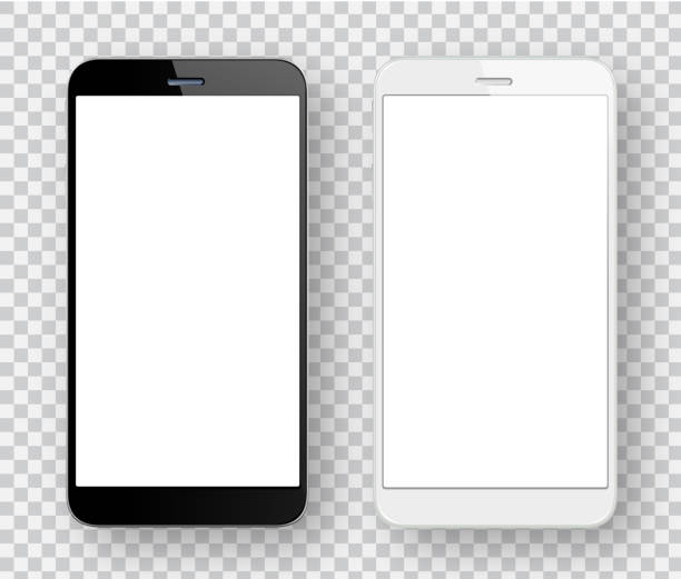 White and black mobile phones Vector white and black mobile phones iphone stock illustrations