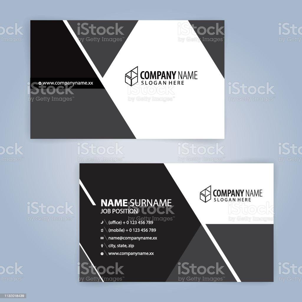 Weißschwarz Moderne Visitenkartenvorlage Illustration Vector