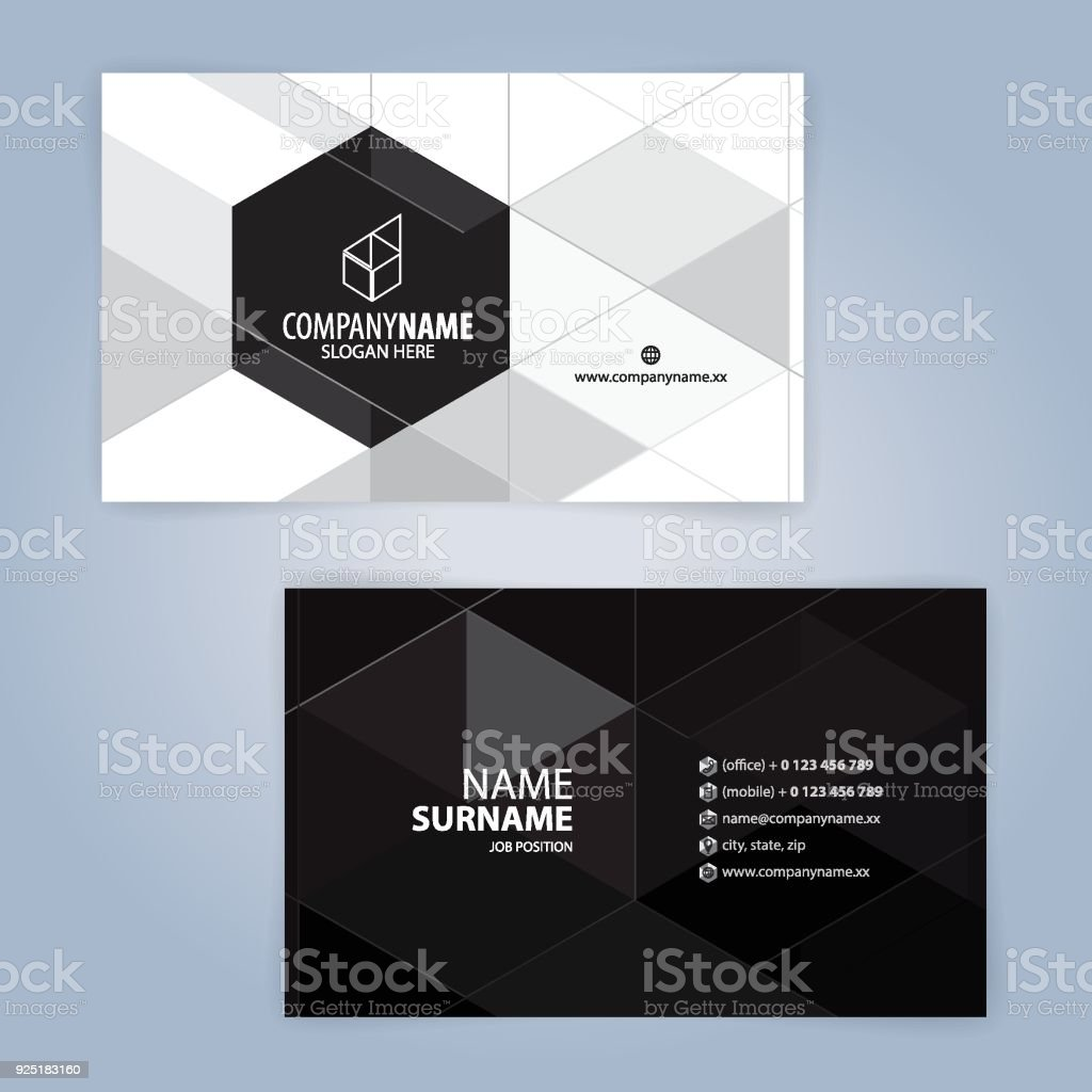 Weiß Und Schwarz Moderne Visitenkarte Vorlage Stock Vektor