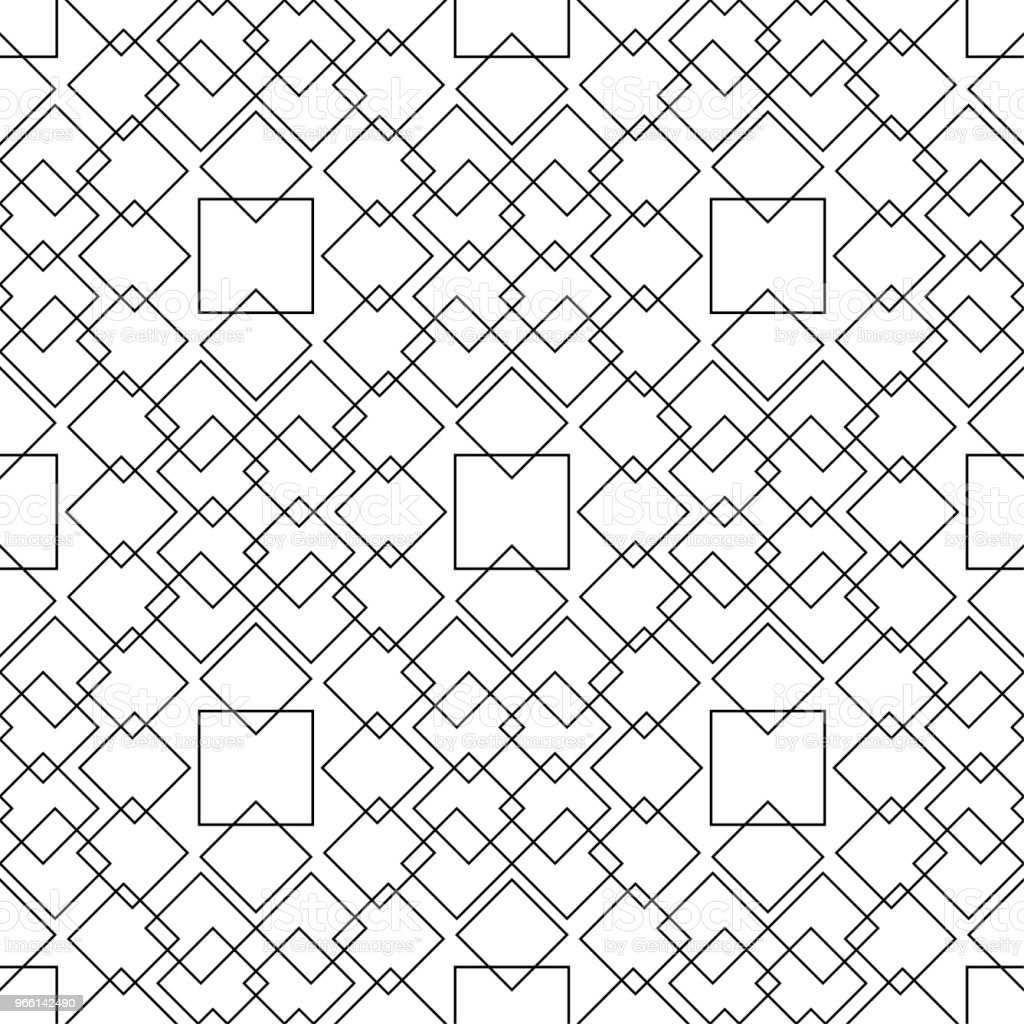 White and black monochrome geometric ornament. Seamless pattern - Royalty-free Abstrato arte vetorial