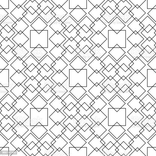 White And Black Monochrome Geometric Ornament Seamless Pattern - Arte vetorial de stock e mais imagens de Abstrato