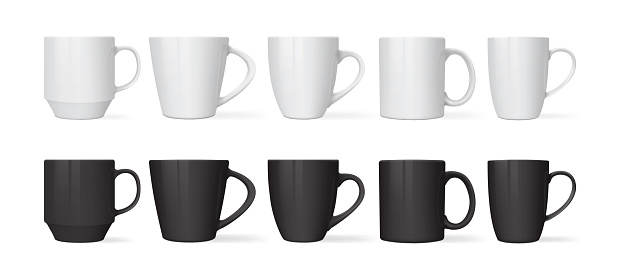 white and black mugs of different designs isolated on white background mock up vector