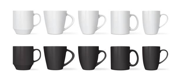 white and black mugs of different designs isolated on white background mock up vector white and black  mugs of different designs isolated on white background mock up vector coffee cup stock illustrations
