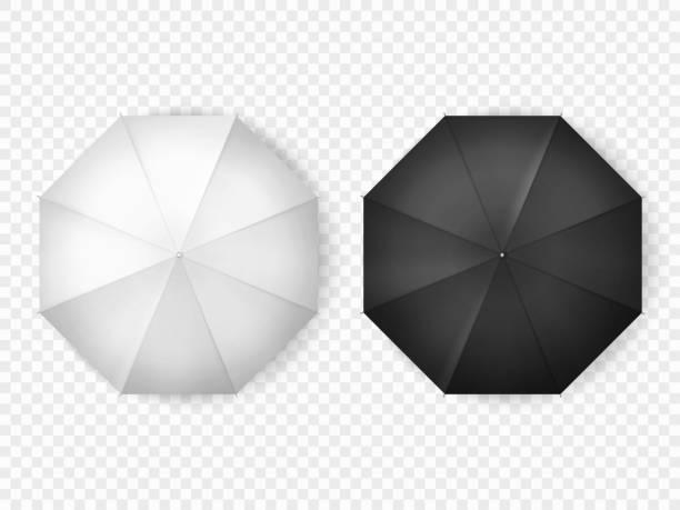 illustrazioni stock, clip art, cartoni animati e icone di tendenza di ombrelli aperti bianchi e neri, mockup top view - mockup outdoor rain
